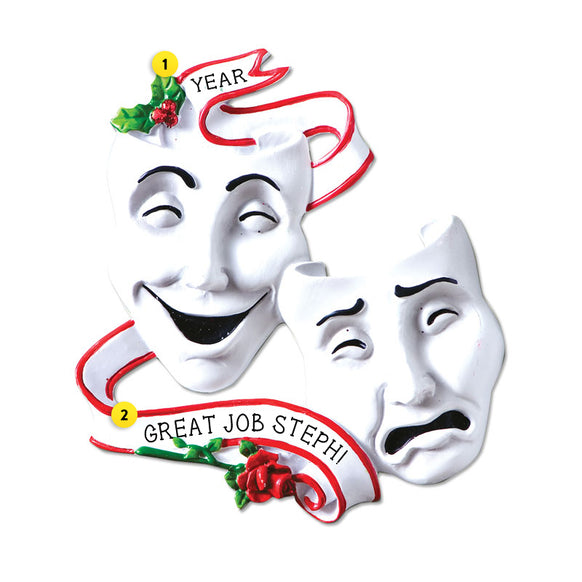 Theatre Mask Comedy Tragedy Ornament for Christmas Tree