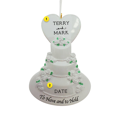 """To Have and To Hold"" Wedding Cake Ornament"