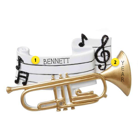 Trumpet Personalized Ornament For Christmas Tree