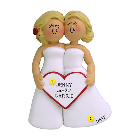 Wedding Couple Ornament - Two Blond Brides for Christmas Tree