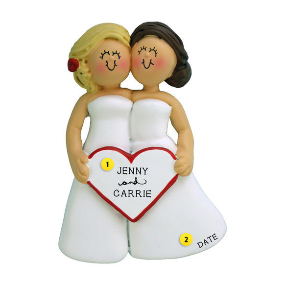 Wedding Couple Ornament - Blond Bride and Brunette Bride for Christmas Tree