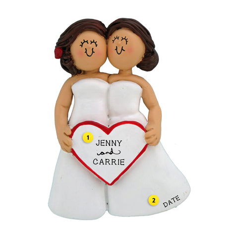 Wedding Couple Ornament - Two Brunette Brides for Christmas Tree