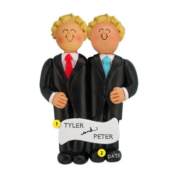 Wedding Couple Ornament - Two Blond Grooms for Christmas Tree