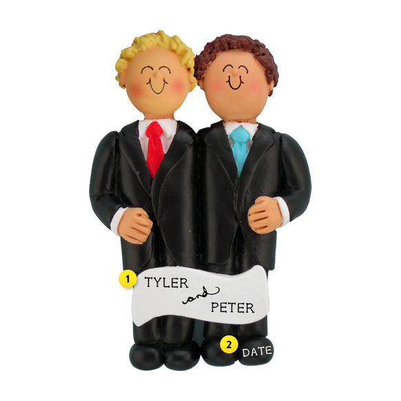 Wedding Couple Ornament - Blond Groom and Brunette Groom for Christmas Tree