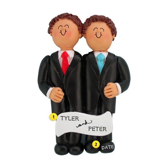 Wedding Couple Ornament - Two Brown-Haired Grooms for Christmas Tree