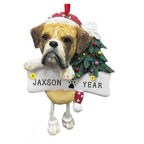 Un-cropped Boxer Dog Ornament for Christmas Tree
