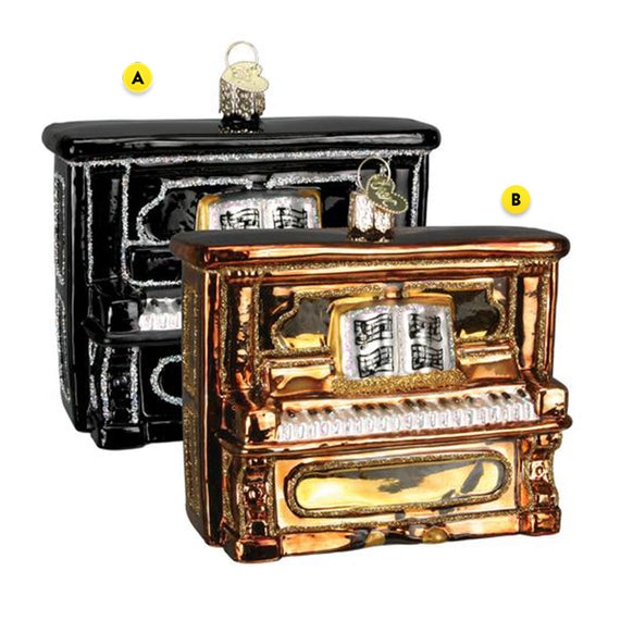 Upright Piano Christmas Ornament Blown Glass 2 Assorted Please Choose Black Piano or Brown Piano Ornament