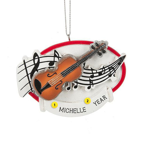 Violin with Music Notes Ornament