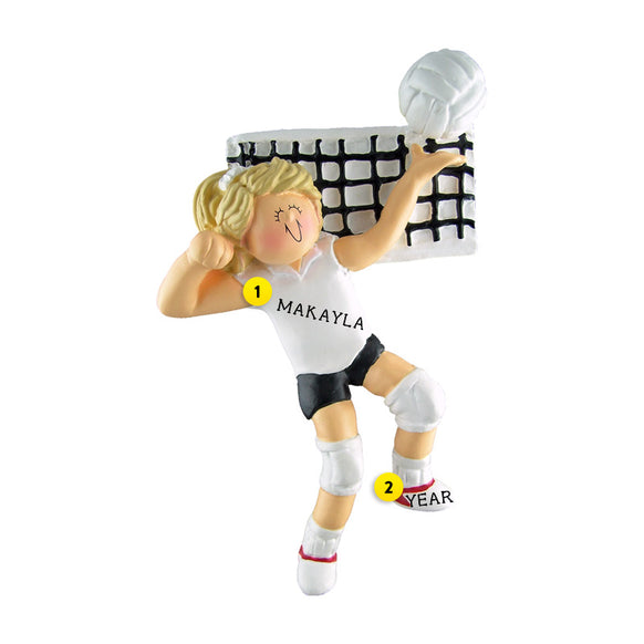 Volleyball Ornament - White Female, Blond Hair for Christmas Tree