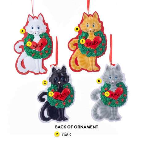 Cat with Heart Christmas Ornament