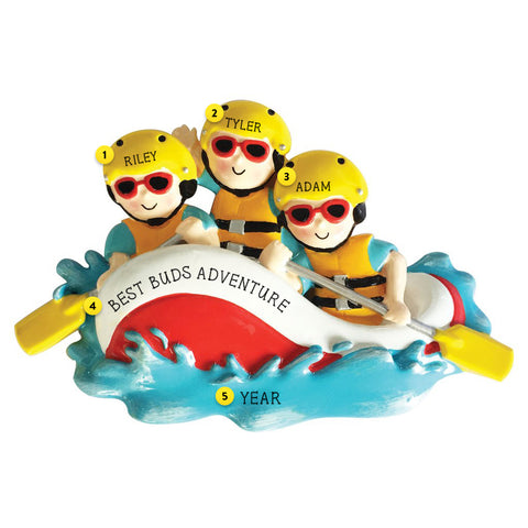 White Water Rafting Family of 3 personalized resin ornament