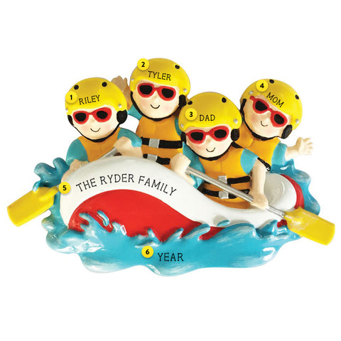 White Water Rafting Family of 4 Ornament