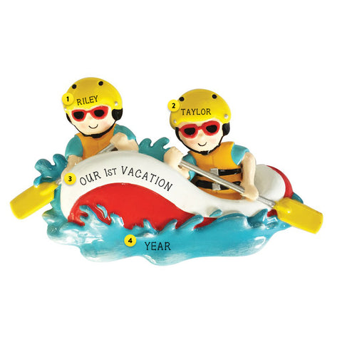 Water Rafting Couple Personalized Resin Christmas Ornament