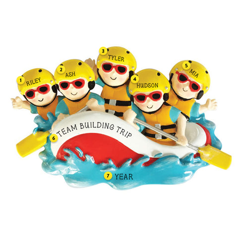 White Water Rafting Family of 5 Personalized resin ornament