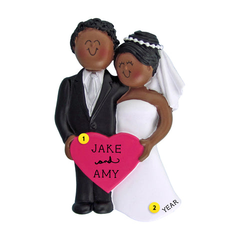 Wedding Couple Ornament - Black Female and Black Male for Christmas Tree