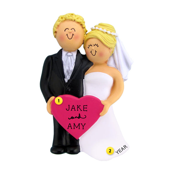 Wedding Couple Ornament - White Blond Male and White Blond Female for Christmas Tree