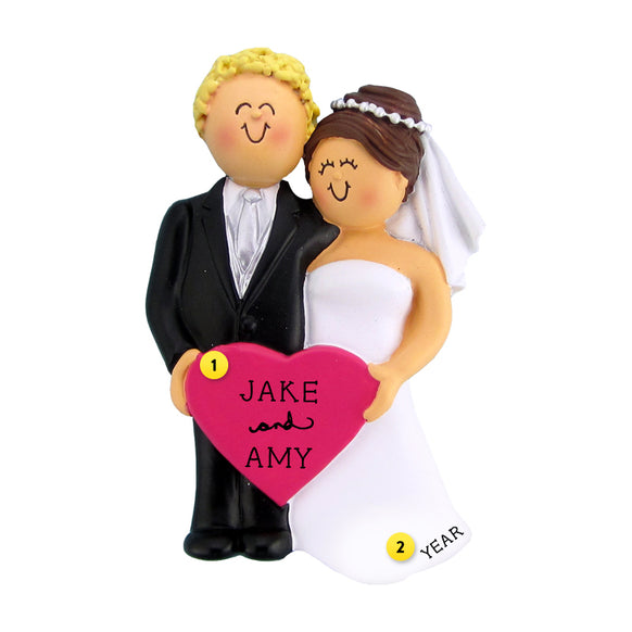 Wedding Couple Ornament - Male, Blond Hair with Female, Brown Hair