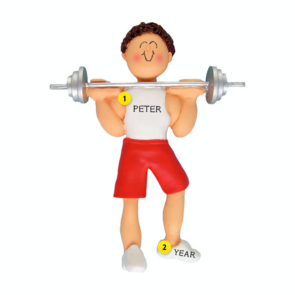 Weight Lifter Ornament - White Male, Brown Hair for Christmas Tree