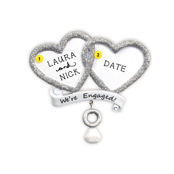 """We're Engaged!"" Double Heart Ornament for Christmas Tree"