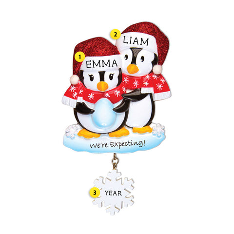 We're Expecting Penguin Couple Ornament for Christmas Tree