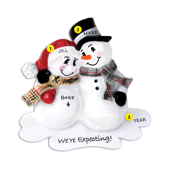 We're Expecting Snowman Couple Ornament for Christmas Tree