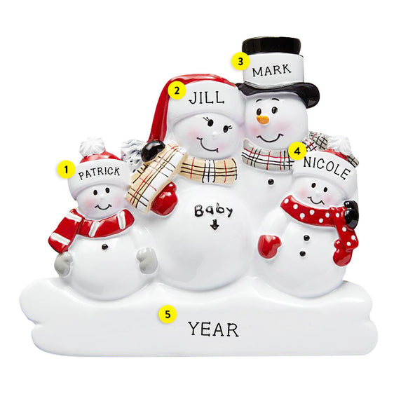 We're Expecting Snowman Family with 2 Children Ornament for Christmas Tree