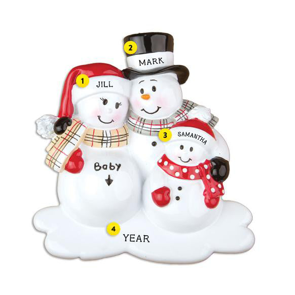 We're Expecting Snowman Family with 1 Child Ornament for Christmas Tree