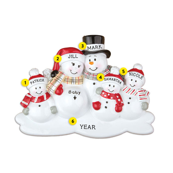 We're Expecting Snowman Family with 3 Children Ornament for Christmas Tree