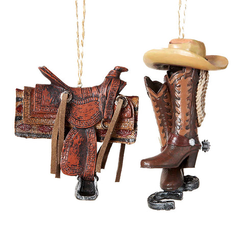 Western Saddle or Cowboy Boots & Hat Ornament for Christmas Tree