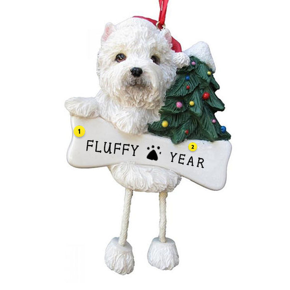 Westie Dog Ornament for Christmas Tree