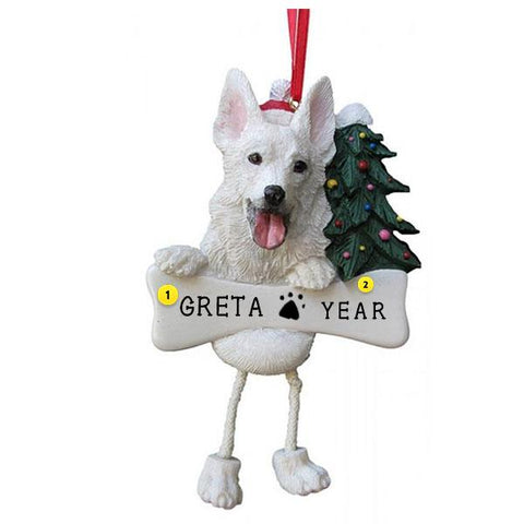 White German Shepard Dog Ornament for Christmas Tree