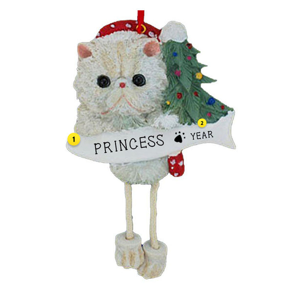 Persian Cat Ornament White for Christmas Tree Personalized