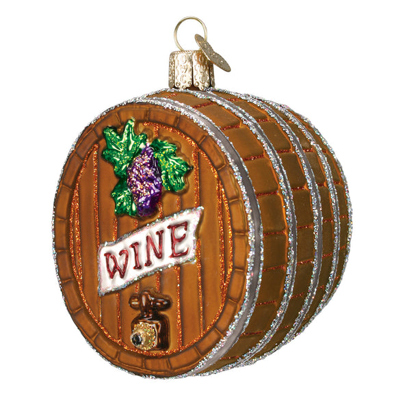 Glass Wine Barrel Ornament for Christmas Tree