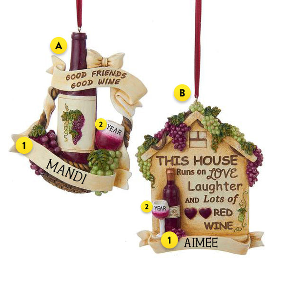 Wine Plaque Ornament
