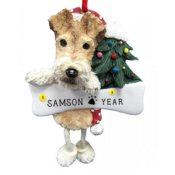 Wire Fox Terrier Dog Ornament for Christmas Tree
