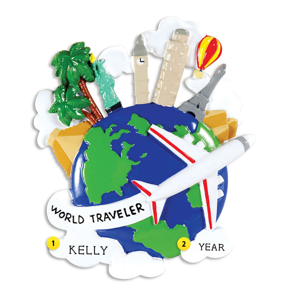 World Traveler Ornament for Christmas Tree