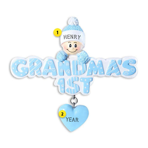 Grandma's First Christmas Blue personalized resin ornament