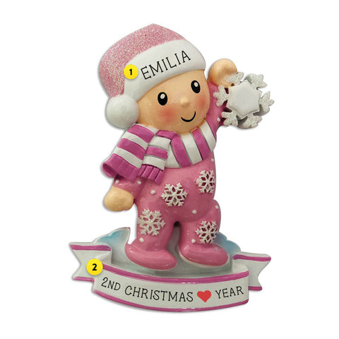 Baby Girl Pink in Pajamas with snowflake resin personalized ornament