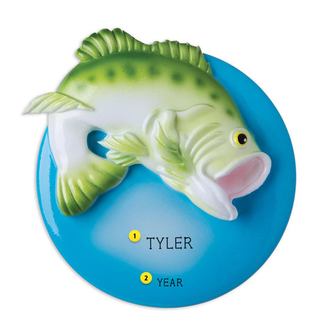 Largemouth Bass Personalized  Christmas Ornament