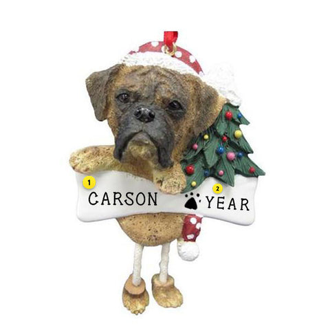 Boxer Dog Ornament Brindle Un-cropped