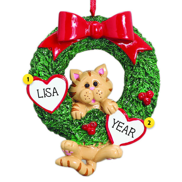 Tabby Cat in Wreath Christmas Ornament