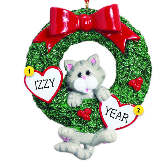 Grey Tabby Cat Wreath Christmas Ornament
