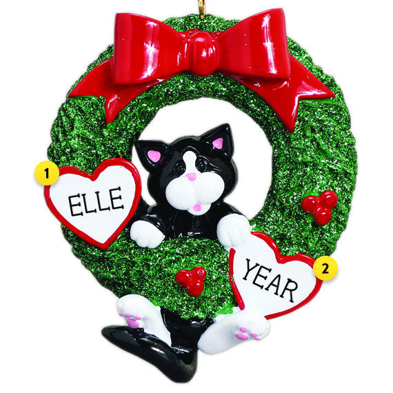 Tuxedo Cat Wreath Christmas Ornament