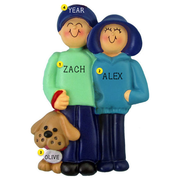 Couple with a Dog Christmas Ornament