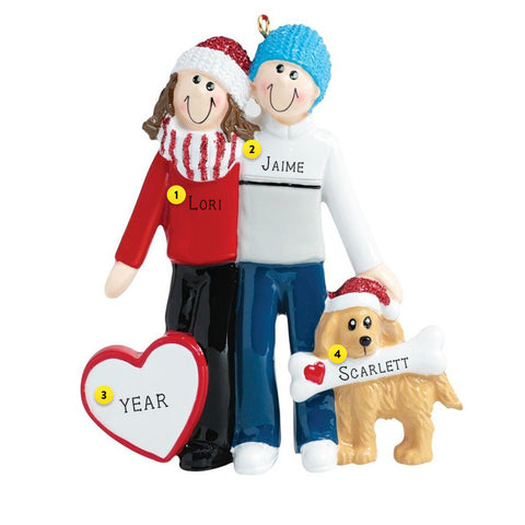 Couple with dog Christmas Tree Ornament