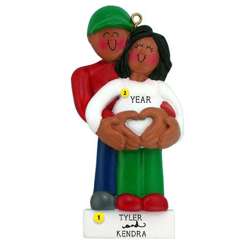 Expecting (Pregnant) African American Couple personalized resin ornament