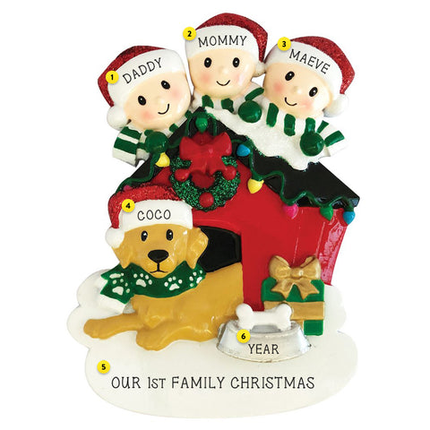Family of 3 with dog personalized resin ornament