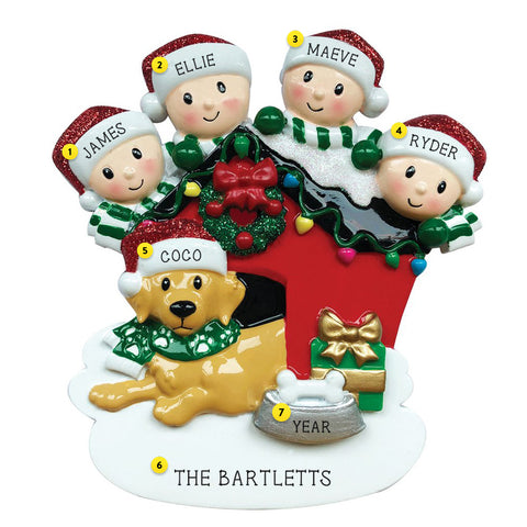 Family of 4 with Dog on doghouse resin ornament