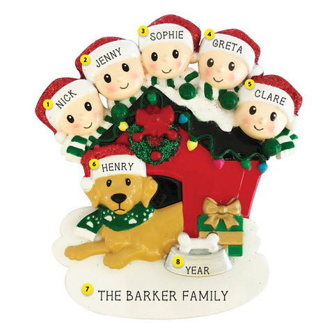 family of 5 with dog in doghouse personalized resin ornament