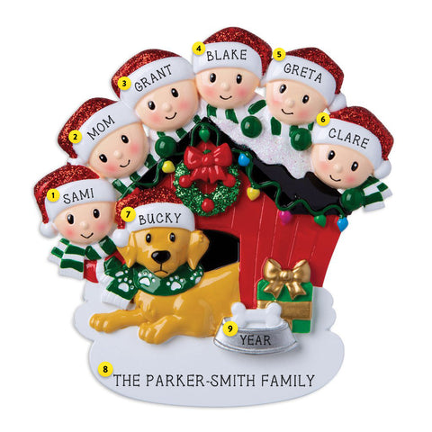 Family of 6 with dog  in doghouse personalized ornament